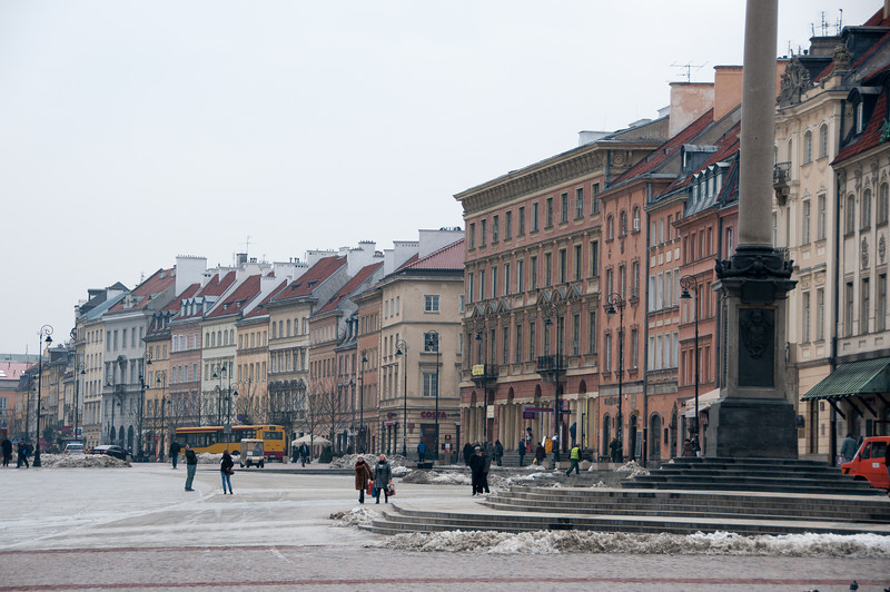 The scene at Castle Square in Warsaw, Poland