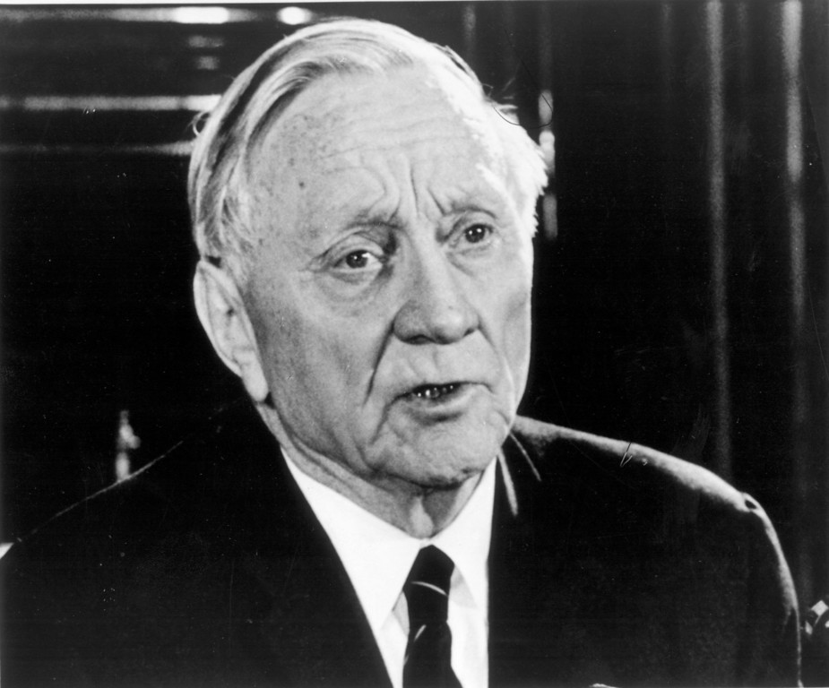 . Justice William O. Douglas tells reporters he intends to stay on the Supreme Court, in Washington, D.C., on Dec. 16, 1970.  He held the news Conference following the realease of a report by a special House committee investigationg his behavior.  The committee concluded there are no grounds for impeaching Douglas.  (AP Photo)