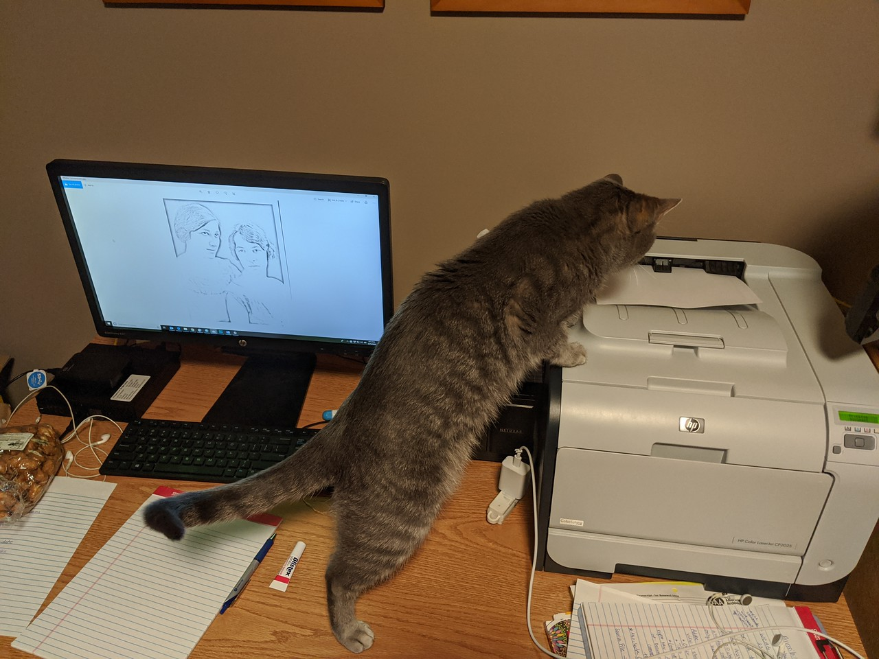 March 25 was the day I actually connected my work computer to the printer- to print a coloring sheet I had created from one of our archives photos.