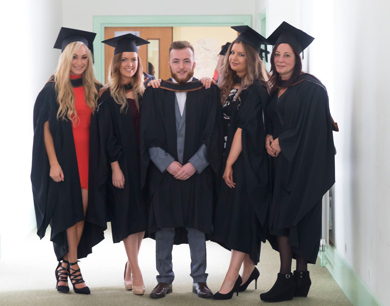 28/10/2015. Waterford Institute of Technology Conferring. Pictured are Megan Battye, Waterford, Joan Buggle, Wicklow, Ryan Barron, Wicklow, May Buckley, Carlow and Gail Bolger, Waterford who graduated BA (Hons).  Picture: Patrick Browne