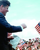 U.S. President John F. Kennedy greets crowd during 1963 trip to Ireland