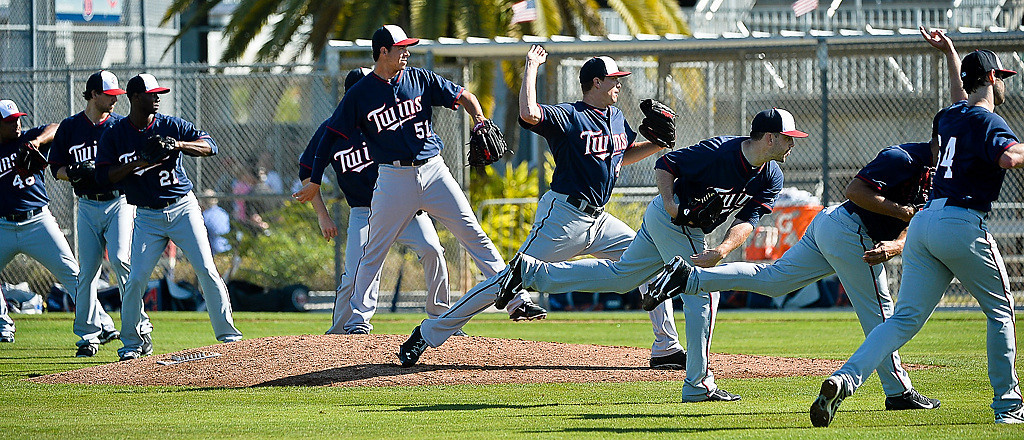 . Pitchers practice throwing to bases on Field 3 at the Lee County Sports Complex. (Pioneer Press: Ben Garvin)