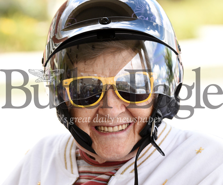 Harold Aughton/Butler Eagle: Elma Buttermore, 95, of Lutheran SeniorLife Passavant Community was one of about 15 residents that joined the American Legion Riders for motorcycle rides on Saturday, August 10.