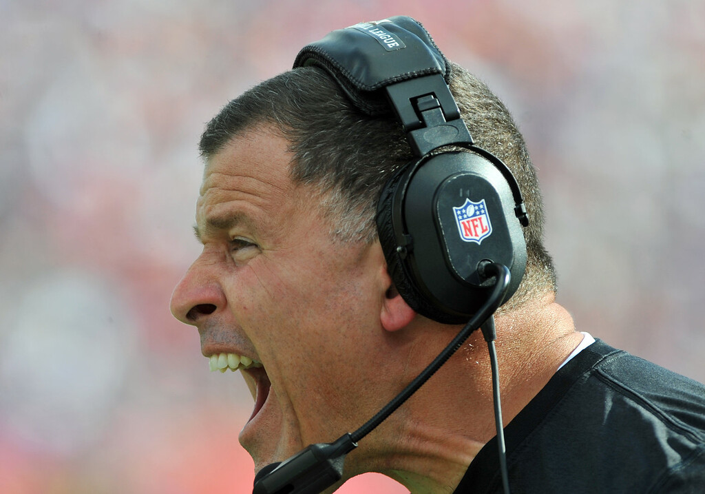 . Coach Greg Schiano of the Tampa Bay Buccaneers directs yells after a penalty during play against the Buffalo Bills December 8, 2013 at Raymond James Stadium in Tampa, Florida. (Photo by Al Messerschmidt/Getty Images)