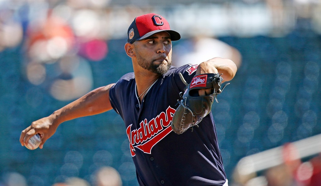 . Cleveland Indians starting pitcher Danny Salazar throws a pitch against the Kansas City Royals during the first inning of a spring training baseball game Saturday, March 11, 2017, in Goodyear, Ariz. (AP Photo/Ross D. Franklin)