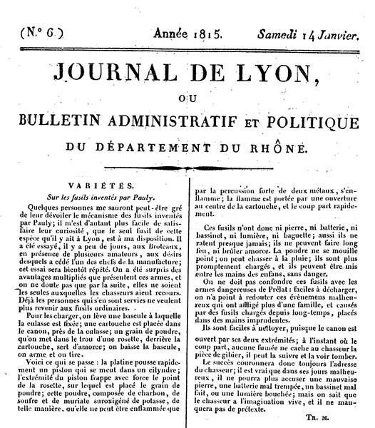 Journal de Lyon, ou Bulletin Administratif et Politique du Département du Rhône