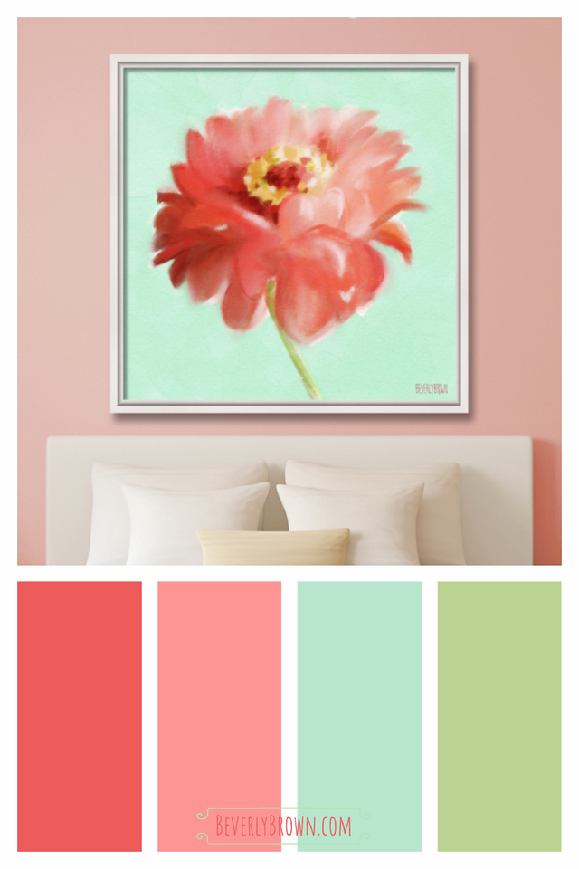 Coral and Mint Green Colorful Cottage Style Bedroom Color Scheme