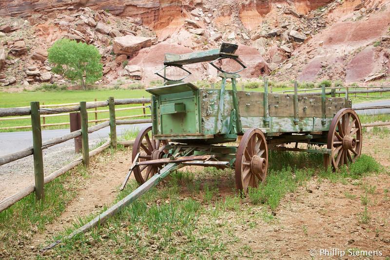 Old wagon at historic farmhouse in Fruita