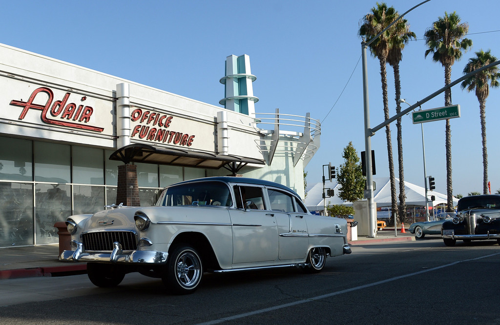 . Classic cars head north on Euclid Ave for the Route 66 Cruisin\' Reunion in Ontario, CA Friday, September 20, 2013. (Jennifer Cappuccio Maher/Inland Valley Daily Bulletin)
