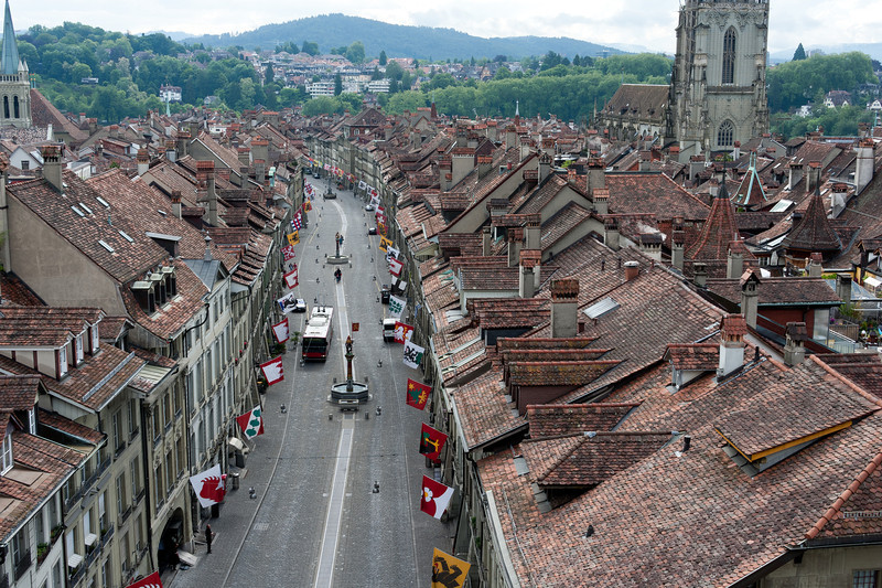 Aerial view of Marktgasse in Bern, Switzerland