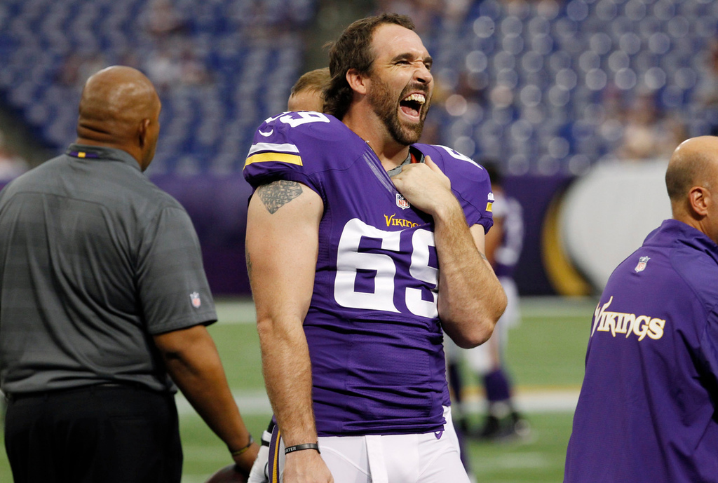 . Vikings defensive end Jared Allen reacts on the field before Minnesota\'s game against the Titans. (AP Photo/Ann Heisenfelt)