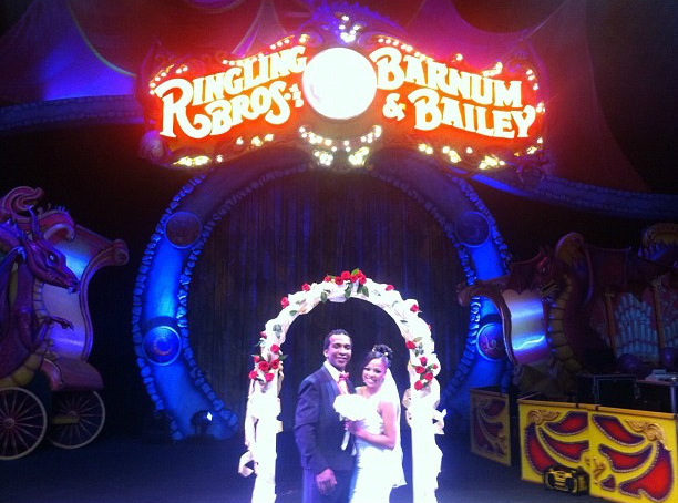 . Andre and Daniele McClain pose for a snapshot after their surprise circus wedding at the Denver Coliseum on Oct. 2, 2012. Ringling Bros. photo