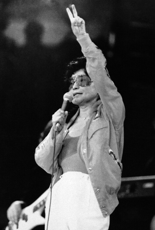 . Yoko Ono, widow of former Beatle John Lennon is performing on the stage of the VUB (Free Brussels University) in Brussels on Friday, March 1, 1986. She started her European tour in Brussels with future stops in Holland, Poland, West Germany, Ireland and England. (AP Photo/Loyaard)