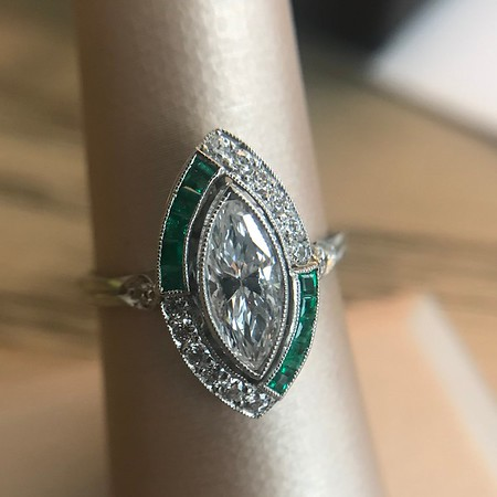 1.50ctw Art Deco Insprired Marquise and Emerald Target Ring
