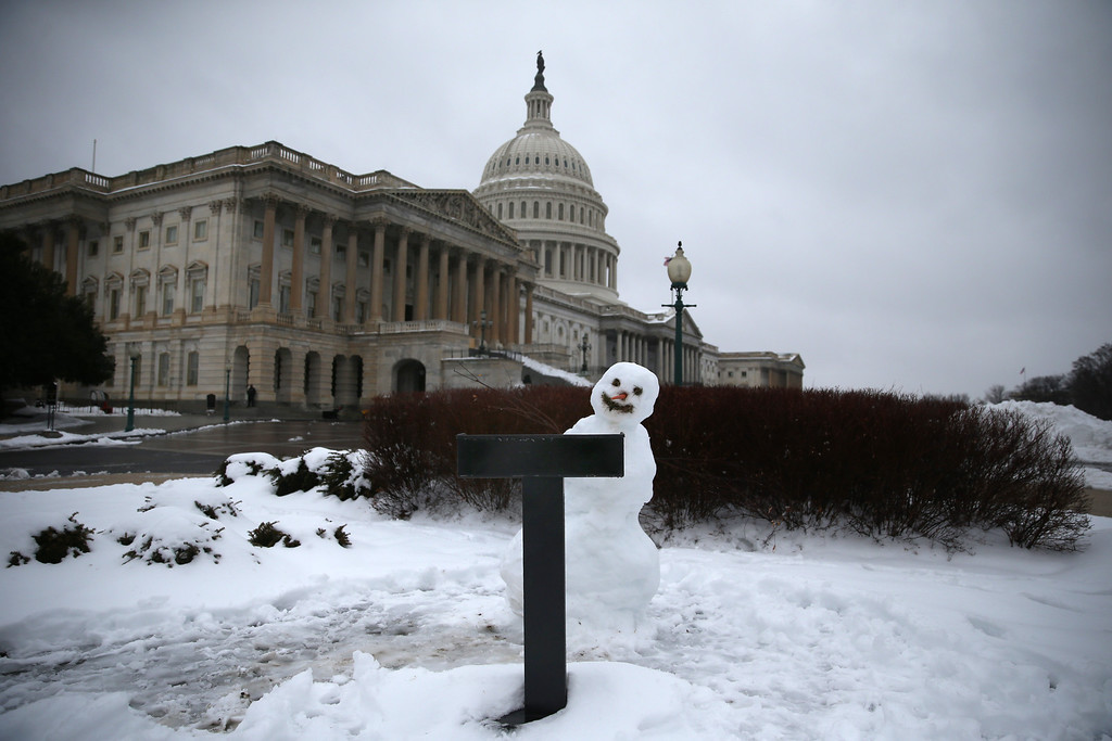 . A snowman sits where Congressman sometimes hold their news conferences on the House side of the U.S. Capitol, on February 13, 2014 in Washington, DC. The east coast was hit with a winter snowstorm with parts of the Washington area receiving up to 11 inches of snow.  (Photo by Mark Wilson/Getty Images)