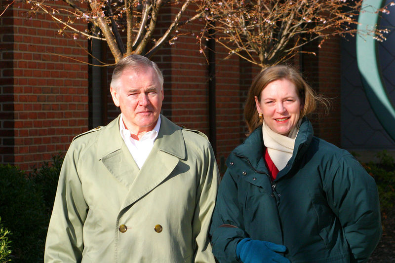 Linda with her Dad outside Anisa's school