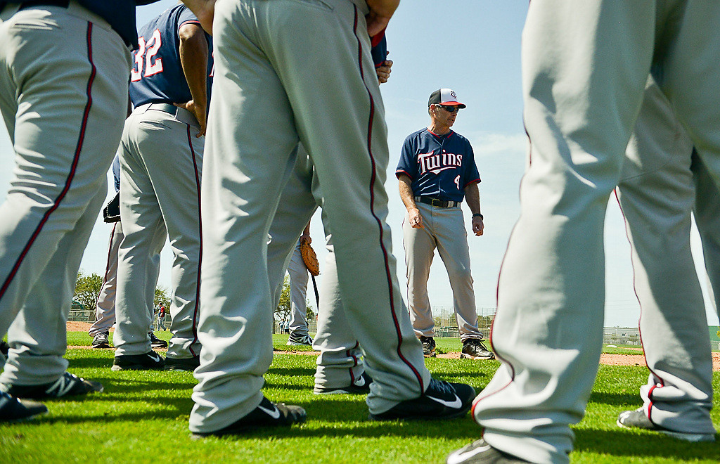 . Infield coach, Hall of Famer and former Twins player Paul Molitor goes over instructions for a base running drill. (Pioneer Press: Ben Garvin)