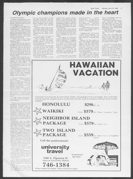 Daily Trojan, Vol. 95, No. 67, April 23, 1984