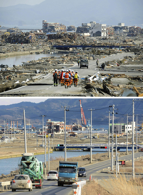 . This combination photo shows a view of Minamisanriku, Miyagi prefecture, March 13, 2011, top, and Saturday, March 2, 2013. Monday, March 11, 2013 will mark the 2-year anniversary of the earthquake and tsunami which devastated the northeastern Pacific coast of Japan. Progress in rebuilding from the mountain of water that thundered over coastal sea walls, sweeping entire communities away and killing nearly 19,000 people, is mainly measured in barren foundations and empty spaces. Clearing of forests on higher ground to make space for relocation of survivors has barely begun. (AP Photo/Kyodo News)