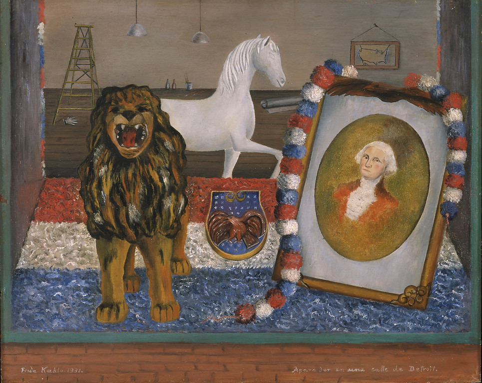 . Window Display on a Street in Detroit, Frida Kahlo, 1932, oil on metal, Mr. and Mrs. Francisco and Fiorella Diaz