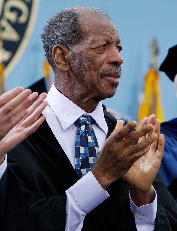 . Jazz musician Ornette Coleman is pictured before receiving an honorary Doctor of Music degree at the University of Michigan commencement ceremony in Ann Arbor, Saturday, May 1, 2010. (AP Photo/Charles Dharapak)