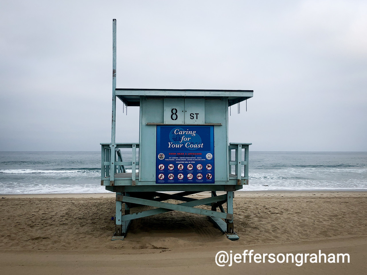 The 8th Street lifeguard station, shot from directly behind