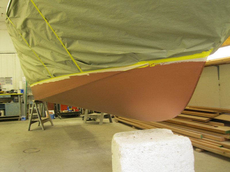 Front starboard view of painted bottom.