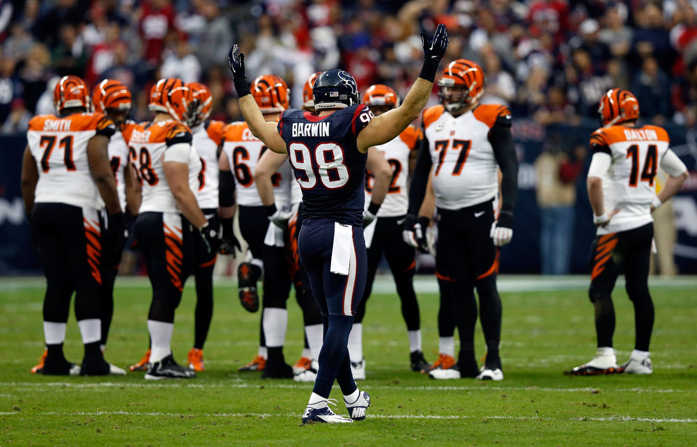 . Connor Barwin #98 of the Houston Texans reacts against the Cincinnati Bengals during their AFC Wild Card Playoff Game at Reliant Stadium on January 5, 2013 in Houston, Texas.  (Photo by Scott Halleran/Getty Images)