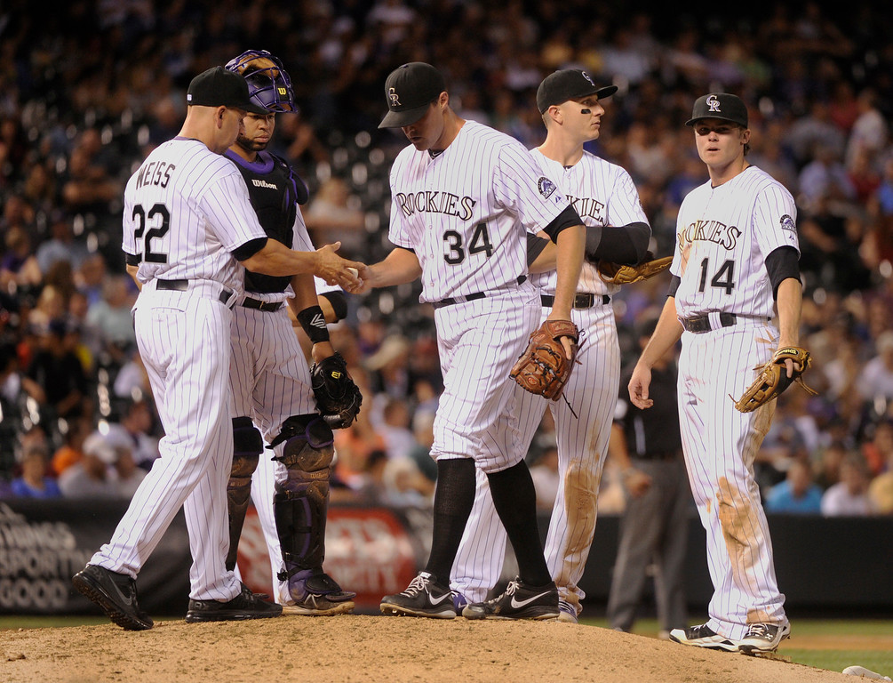 . DENVER, CO. - SEPTEMBER 4: Colorado manager Walt Weiss replaced Matt Belisle (34) with Manny Corpas in the eighth inning. The Colorado Rockies defeated the Los Angeles Dodgers 7-5 at Coors Field Wednesday night, September 4, 2013.  Photo By Karl Gehring/The Denver Post