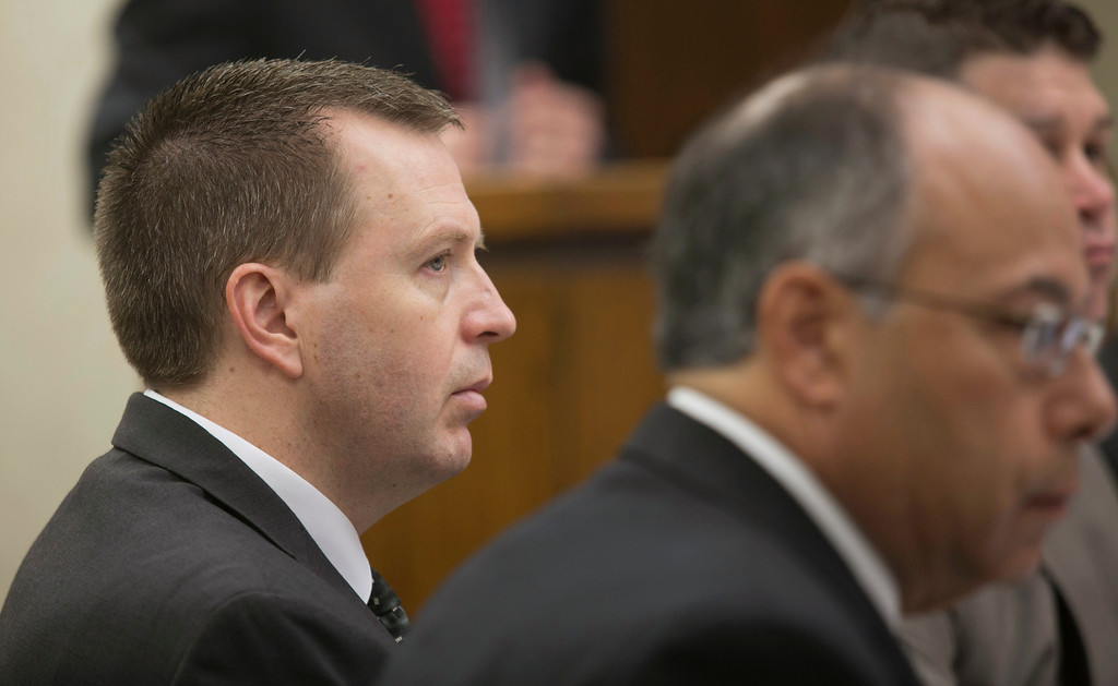 . Michael Allen Blair/MBlair@News-Herald.com Kevin Knoefel, left, listens to testimony along with defense attorney Dennis N. LoConti on day three of Knoefel\'s murder conspiracy trial on June 4, 2014.