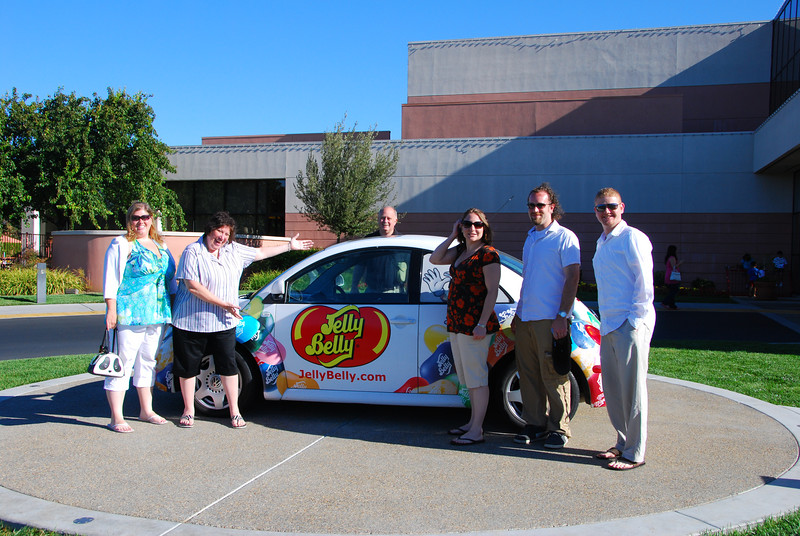 The gang gathered around the Jelly Belly Beetle, at the Jelly Belly factory.