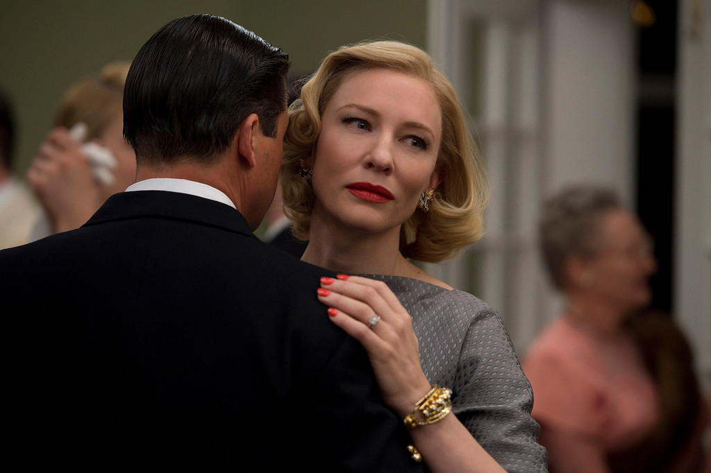 """. This photo provided by The Weinstein Company shows, Kyle Chandler, left,  and Cate Blanchett in a scene from the film, \""""Carol.\"""" Blanchett was nominated for an Oscar for best actress on Thursday, Jan. 14, 2016, for her role in the film. The 88th annual Academy Awards will take place on Sunday, Feb. 28,, at the Dolby Theatre in Los Angeles.  (Wilson Webb/The Weinstein Company via AP)"""