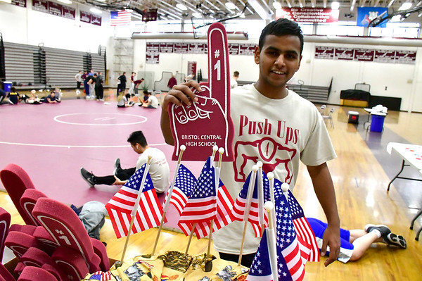 3/8/2019 Mike Orazzi | Staff Jithu Sajeevan during Push Up for Patriots at Bristol Central High School Friday afternoon.