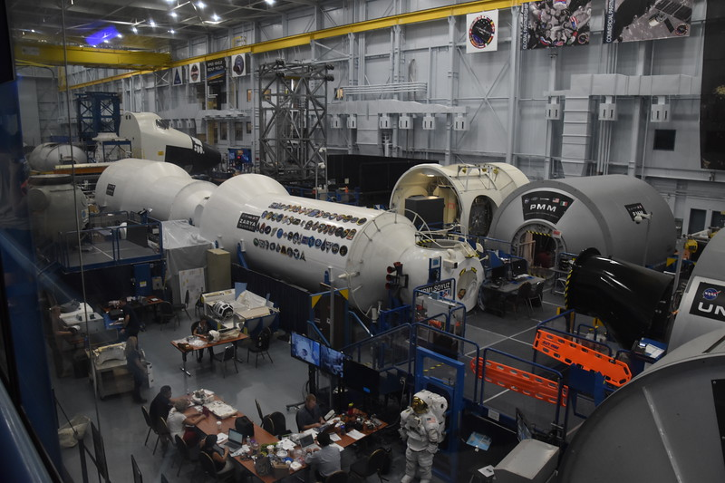 Actual work area where astronauts train in mockups of space hardware.