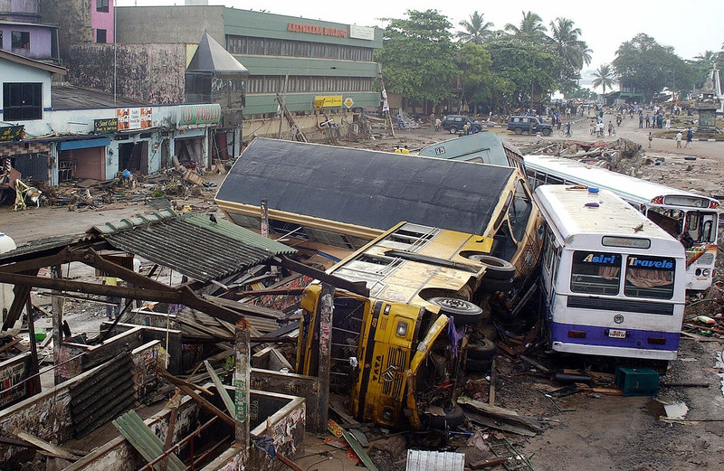 . A general view of the destroyed central bus terminal in Galle, some 125 kms south of the Sri Lankan capital Colombo 27 December 2004 after tsunami tidal waves lashed more than half of Sri Lanka\'s coastline.  Nearly 11,000 people, including 70 foreigners, were killed and 50 more were missing after tsunamis devastated much of Sri Lanka\'s coastline, the military and Tamil rebels said Monday.   SENA VIDANAGAMA/AFP/Getty Images