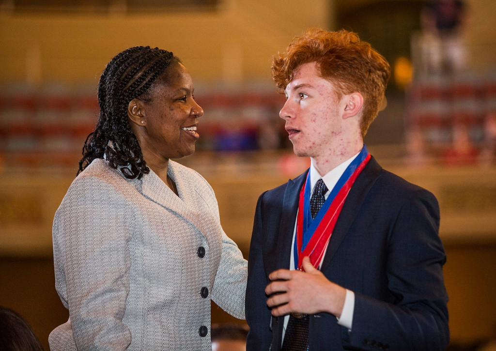 . (Left to Right) Camino Real Charter High School\'s California Academic Decathlon Coach Stephanie Franklin congratulates Rohan Boone for an individual win at the 35th annual California Academic Decathlon in Sacramento, California, U.S., on Sunday, March 23 2014. Ken James/LA Daily News