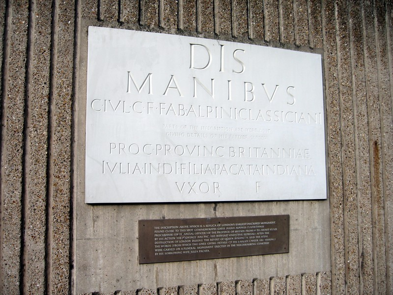 Replica of an inscription on the London Wall, built by the Romans in the 2nd Century.