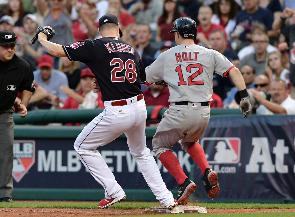 . Cleveland Indians pitcher Corey Kluber (28) arrives at first base ahead of Boston Red Sox\'s Brock Holt (12) for the out on Holt during the sixth inning of Game 2 of a baseball American League Division Series, Friday, Oct. 7, 2016, in Cleveland. (AP Photo/David Dermer)