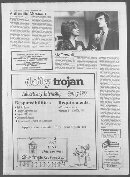 Daily Trojan, Vol. 105, No. 63, December 04, 1987