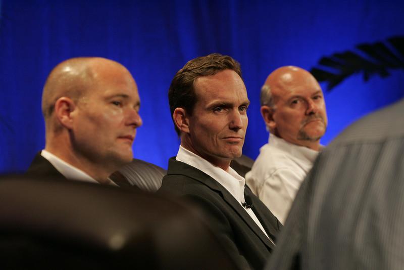 """FiReStarters II"": (L-R) Dave Grannan, vlingo; John Bower, uBoost; and Michael Rocke, Transonic Combustion Inc."