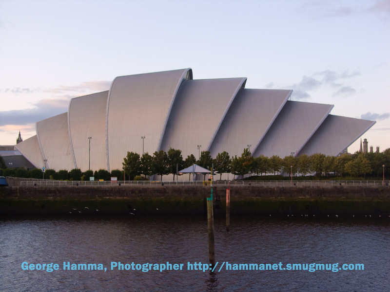 """The """"Armadillo"""" (Clyde Auditorium), the performance venue by the River Clyde - rather like the Sydney Opera House."""