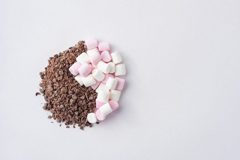 Chocolate Granules and Marshmallows Yin Yang