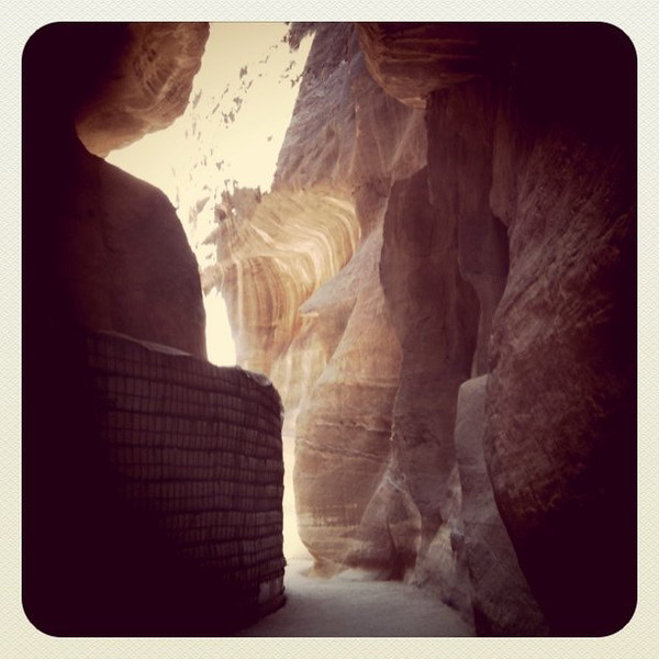 Walking through Siq to Petra, Jordan