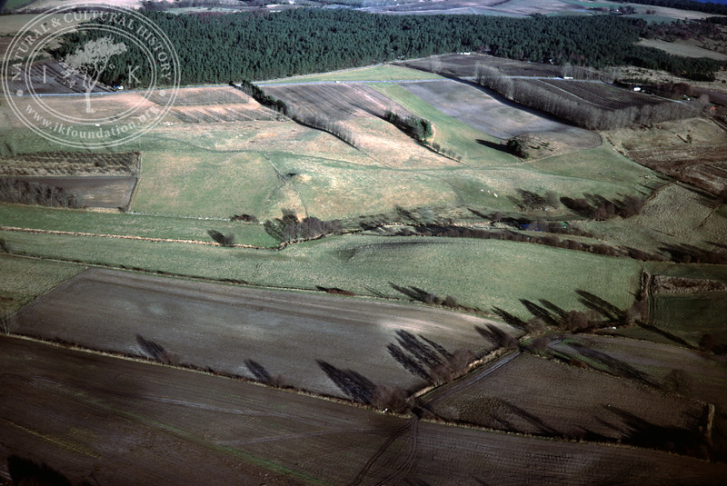 Farmland southeast Torups Gård showing the valley of Klammersbäck - with plantations and prehistoric remains (20 November, 1988). | LH.0301