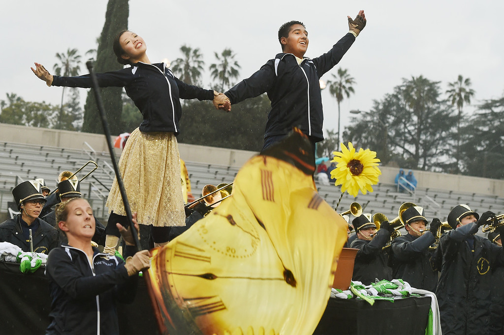 . Legacy High School Lightning Marching and from Broomfield, Colorado performing at Bandfest Tuesday, December 30, 2014.  These feature bands selected to participate in the 2015 Rose Parade. Over the course of two days, each band, along with its auxiliary performers, will present the field show that has led to its success. Three Bandfest events will take place at Pasadena City College on December 29 and 30, 2014..(Photo by Walt Mancini/Pasadena Star-New)