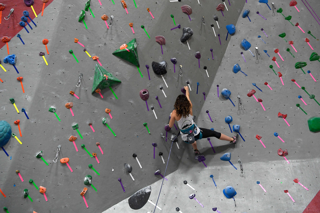 . FORT COLLINS, CO - MAY 05: Angela Stroud (national champion in the women\'s speed climb) practices with teammates on Thursday, May 5, 2016. In April, the Colorado State climbing team won the USA Climbing national title � its second straight win. (Photo by AAron Ontiveroz/The Denver Post)