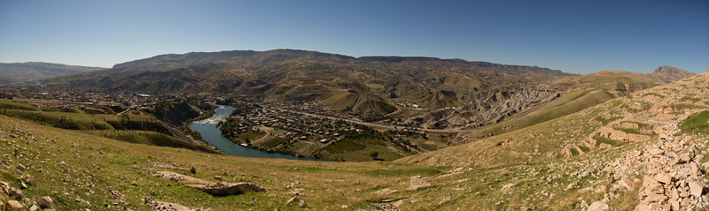 The town of Dokan surrounded by green hills, Sulaymaniyah Governorate, Iraqi Kurdistan.