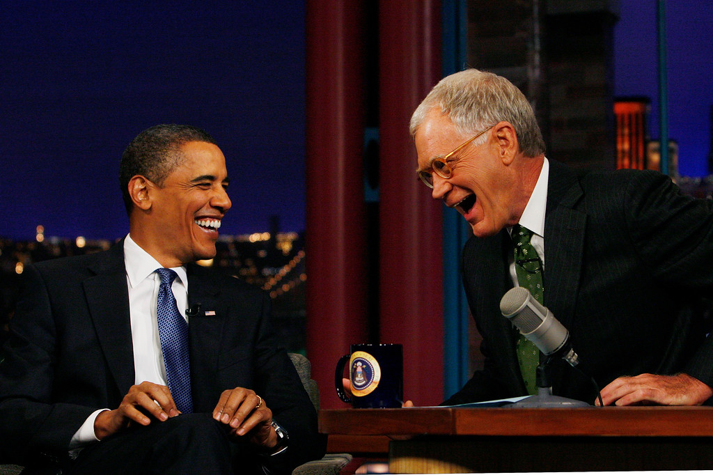 . President Barack Obama is pictured with host David Letterman during a break at a taping of CBS The Late Show with David Letterman, Monday, Sept. 21, 2009, at the Ed Sullivan Theater in New York. (AP Photo/Charles Dharapak)