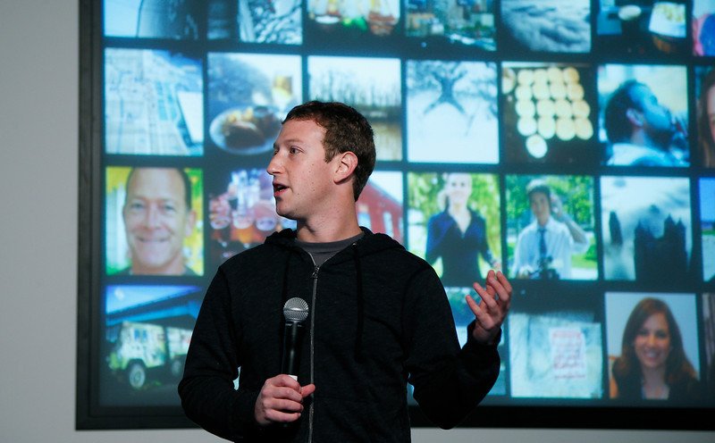 . Facebook Chairman and Chief Executive Mark Zuckerberg introduces Graph Search features during a presentation January 15, 2013 in Menlo Park. Facebook announced a search function that works within the website and allows users to search content that people have shared with you or is public.  (Photo by Stephen Lam/Getty Images)