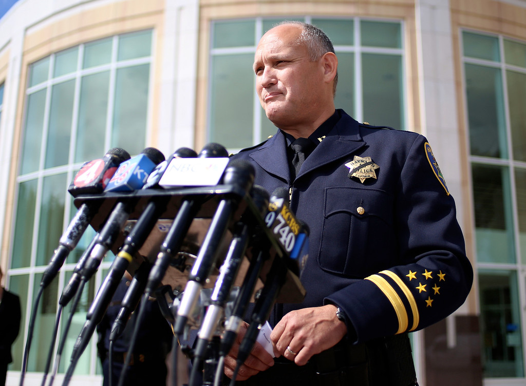 . Hayward Police Captain Mark Koller speaks during a news conference outside city hall in Hayward, Calif., Wednesday, July 22, 2015. Koller confirmed that fellow officer Sgt. Scott Lunger was shot and killed during a traffic stop early Wednesday morning near Lion and Myrtle Streets. (Anda Chu/Bay Area News Group)